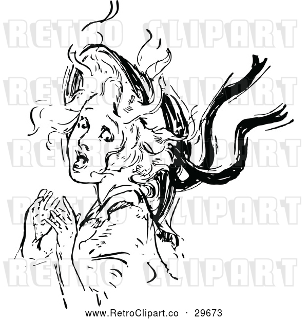 Vector Clip Art of Retro Scared Girl