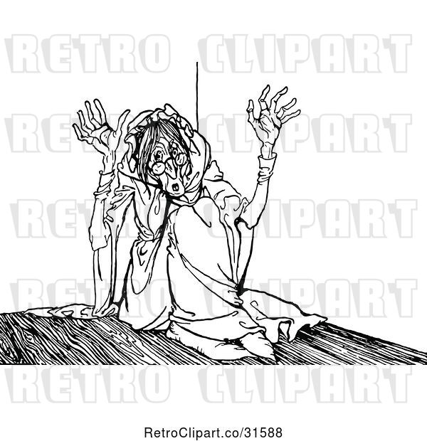 Vector Clip Art of Retro Scared Old Lady