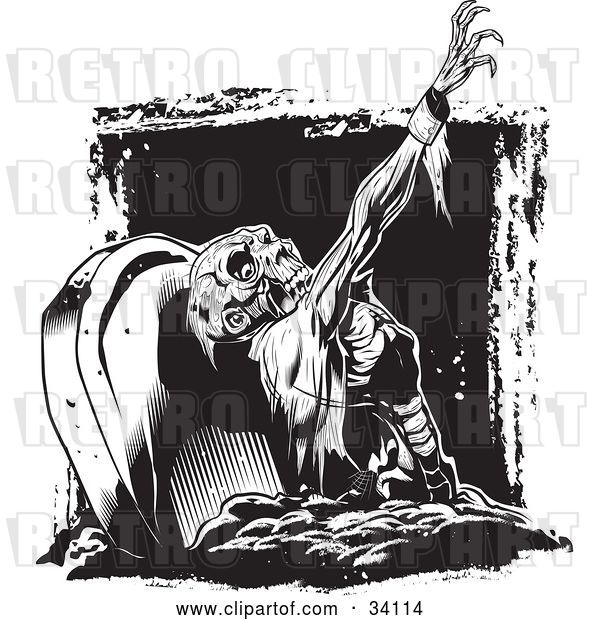 Vector Clip Art of Retro Scary Zombie Corpse Rising from the Grave in a Cemetery