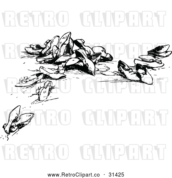 : Vector Clip Art of Retro Scattered Shoes