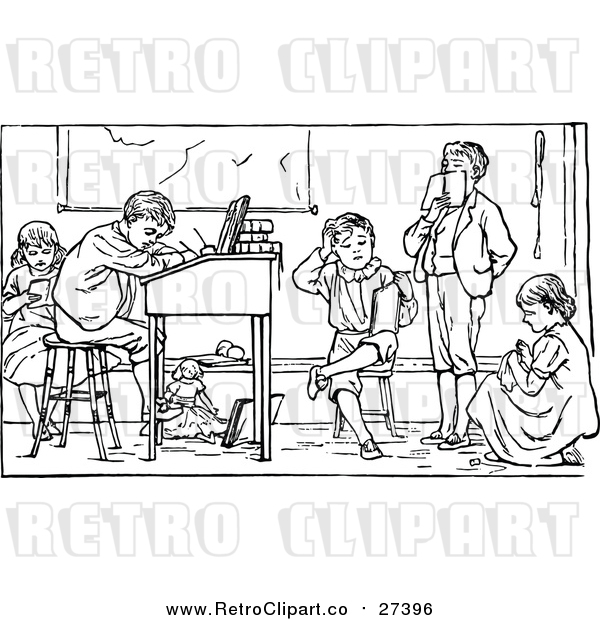 Vector Clip Art of Retro School Children Studying
