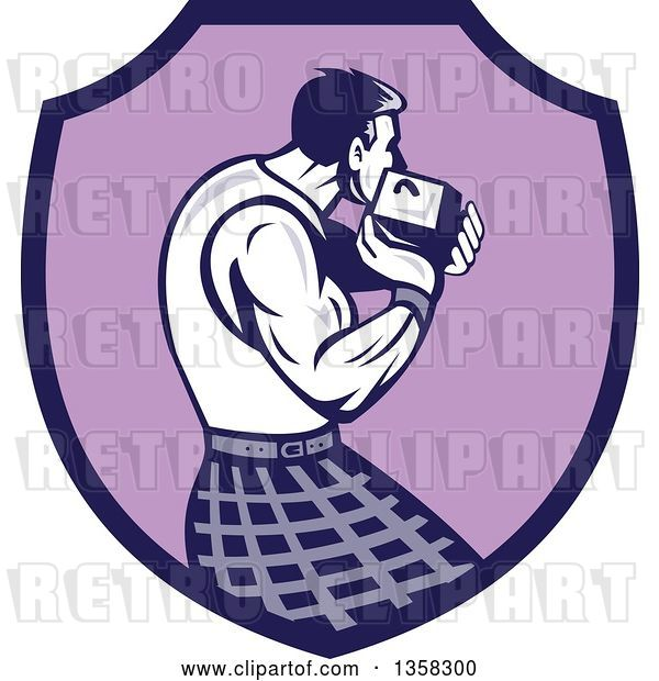 Vector Clip Art of Retro Scotsman Athlete Wearing a Kilt, Playing a Highland Weight Throwing Game in a Purple Shield