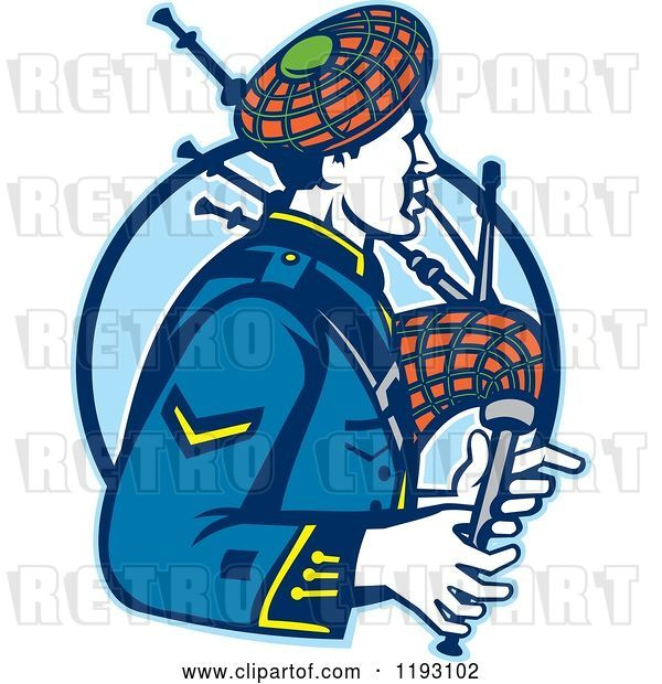 Vector Clip Art of Retro Scotsman Playing Bagpipes over a Blue Circle