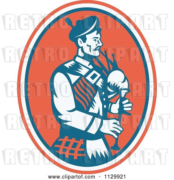 Vector Clip Art of Retro Scottish Bagpipe Guy in an Oval