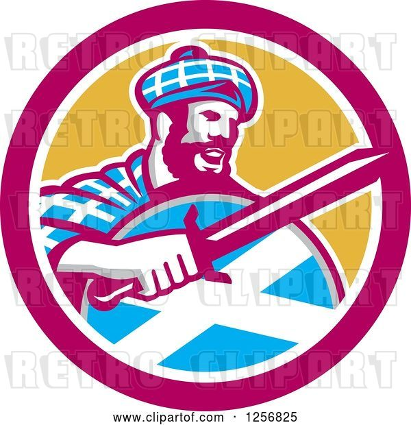 Vector Clip Art of Retro Scottish Highlander in a Tartan with a Sword and Shield in a Pink and Yellow Circle