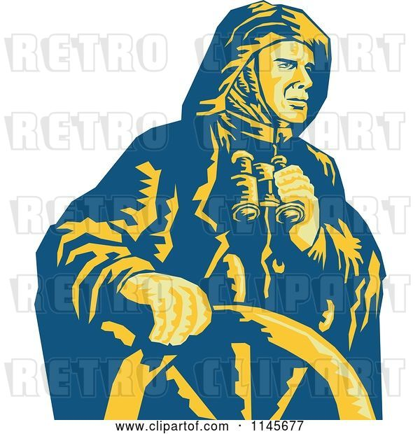 Vector Clip Art of Retro Sea Captain Holding Binoculars at the Helm