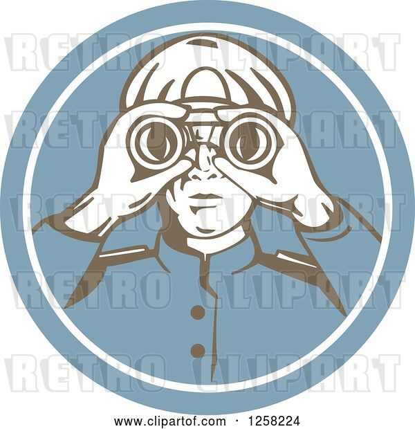 Vector Clip Art of Retro Sea Captain Using Binoculars in a Blue Circle