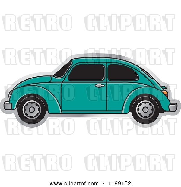 Vector Clip Art of Retro Sea Green Vw Beetle Car with Tinted Windows