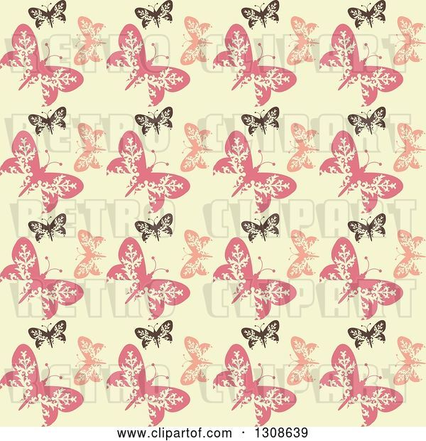 Vector Clip Art of Retro Seamless Background of a Black and Pink Butterfly Pattern on Pastel Yellow