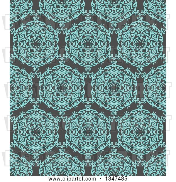 Vector Clip Art of Retro Seamless Background of a Turquoise Blue Circuolar Pattern over Gray