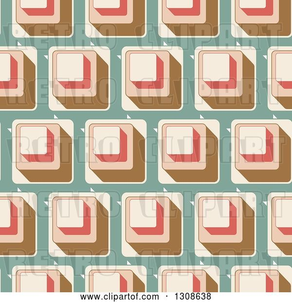 Vector Clip Art of Retro Seamless Background of Cubes on Green