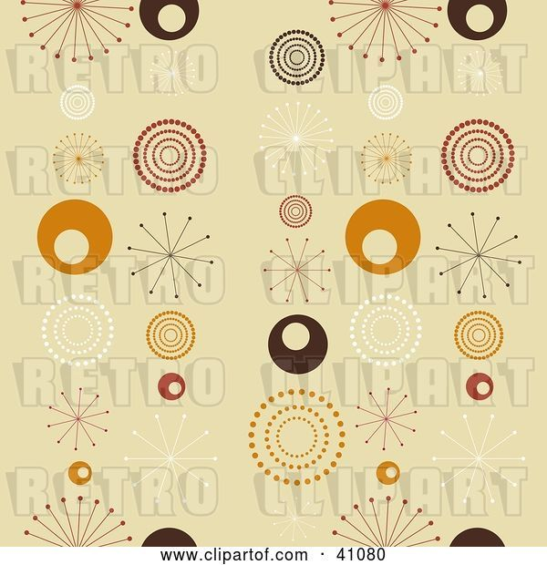 Vector Clip Art of Retro Seamless Background of White, Brown, Red and Orange Bursts and Circles on Beige