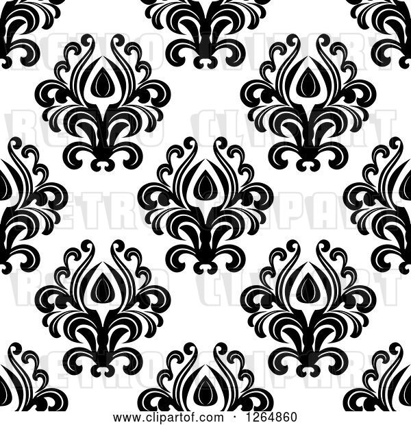 Vector Clip Art of Retro Seamless Background Pattern of Black Floral Damask on White