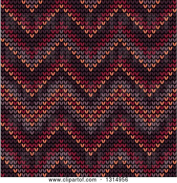 Vector Clip Art of Retro Seamless Background Pattern of Knitted Brown, Orange, Burgundy, Purple and Red Chevrons