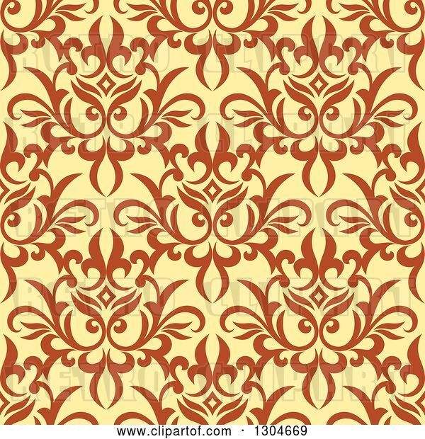 Vector Clip Art of Retro Seamless Background Pattern of Orange Floral over Yellow