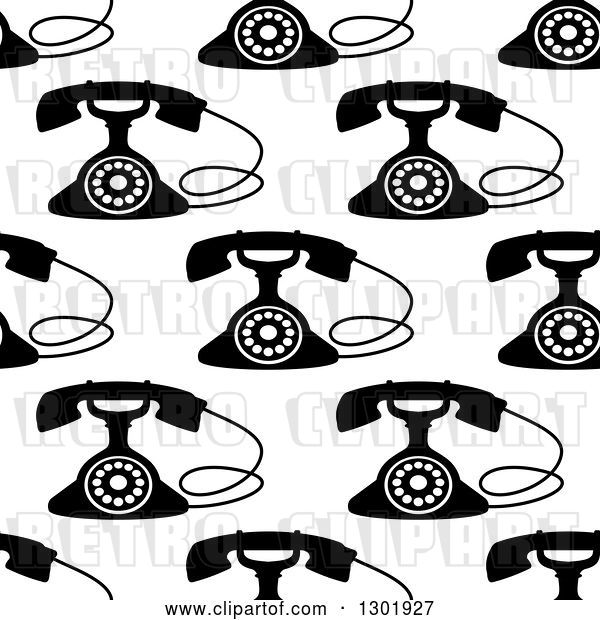 Vector Clip Art of Retro Seamless Background Pattern of Telephones