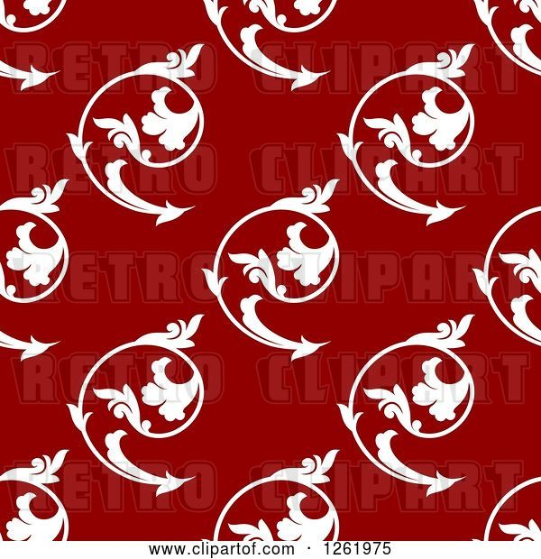 Vector Clip Art of Retro Seamless Background Pattern of White Floral Swirls on Red