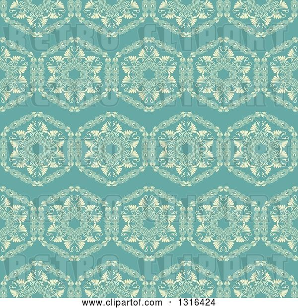 Vector Clip Art of Retro Seamless Background Pattern of Yellow Flowers on Turquoise
