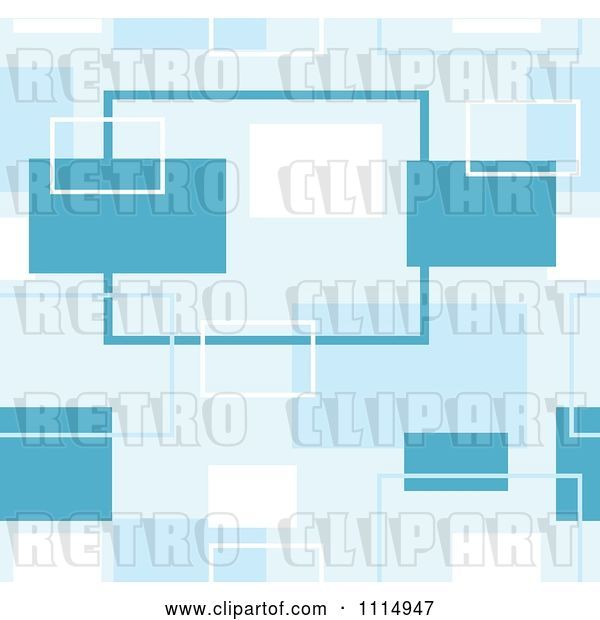 Vector Clip Art of Retro Seamless Blue Rectangle Background Pattern