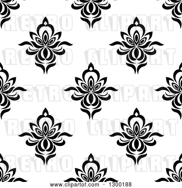 Vector Clip Art of Retro Seamless Floral Background Pattern 4