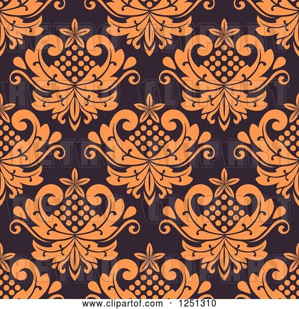 Vector Clip Art of Retro Seamless Floral Background Pattern