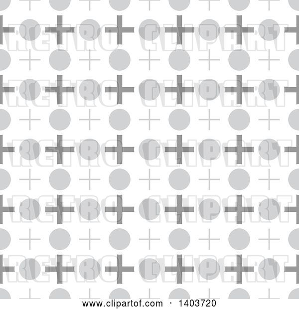 Vector Clip Art of Retro Seamless Grayscale Pattern Background of Crosses and Circles