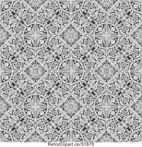 Vector Clip Art of Retro Seamless Grayscale Victorian Floral Pattern Background