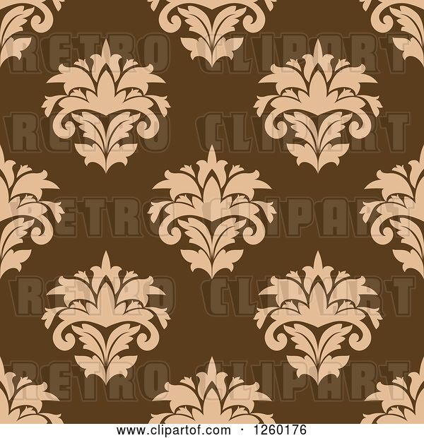 Vector Clip Art of Retro Seamless Pattern Background of Damask Floral