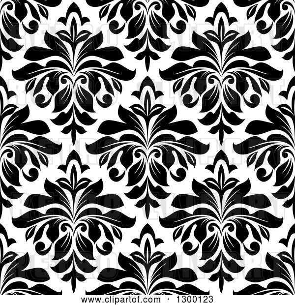 Vector Clip Art of Retro Seamless Pattern Background of Damask in Black on White 3