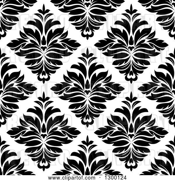 Vector Clip Art of Retro Seamless Pattern Background of Damask in Black on White 4