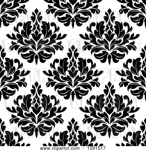 Vector Clip Art of Retro Seamless Pattern Background of Floral Damask 2