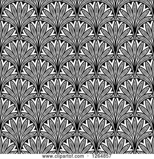 Vector Clip Art of Retro Seamless Pattern Background of Ornate Scallops