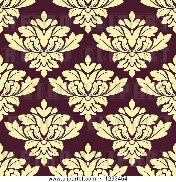 Vector Clip Art of Retro Seamless Pattern Background of Pastel Yellow Damask on Brown