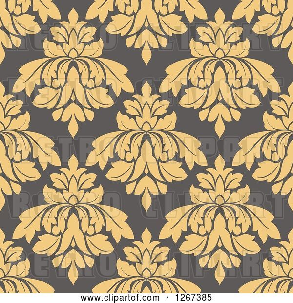 Vector Clip Art of Retro Seamless Pattern Background of Tan Floral Damask on Taupe