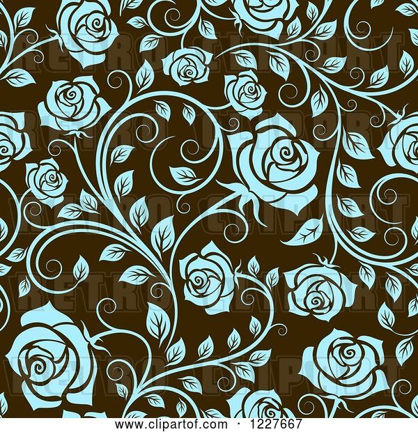 Vector Clip Art of Retro Seamless Pattern of Blue Roses on Brown