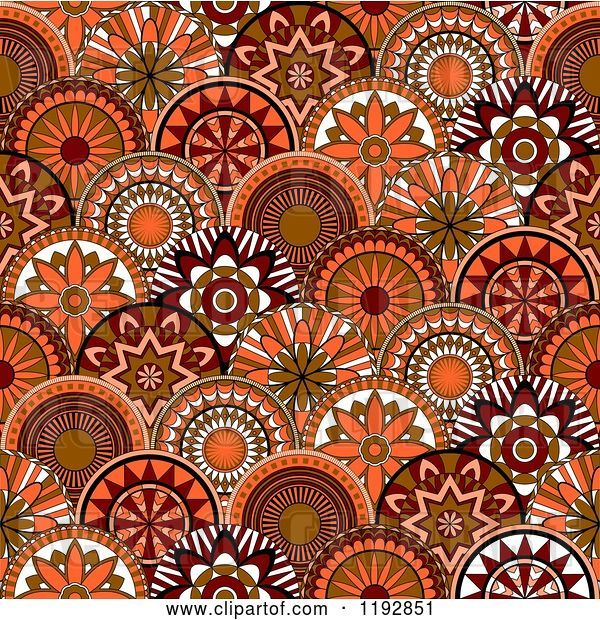 Vector Clip Art of Retro Seamless Pattern of Orange and Brown Circle Flowers