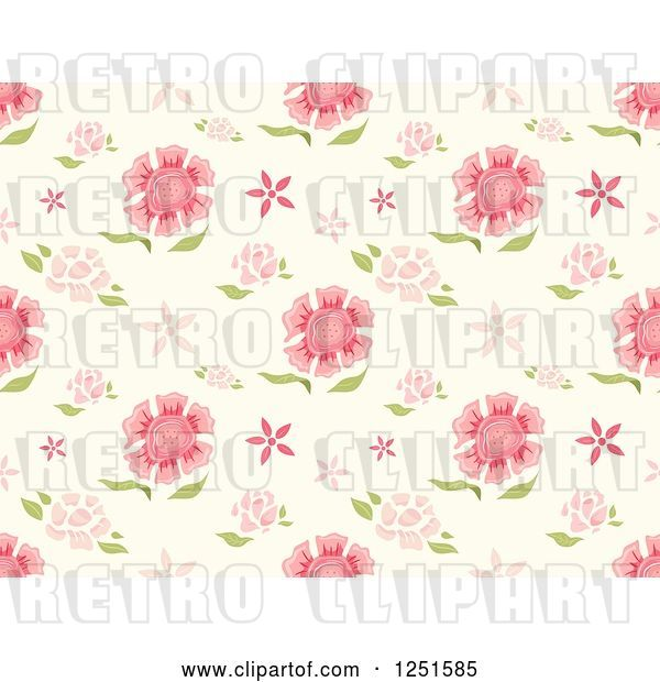 Vector Clip Art of Retro Seamless Pink Carnation Background Pattern