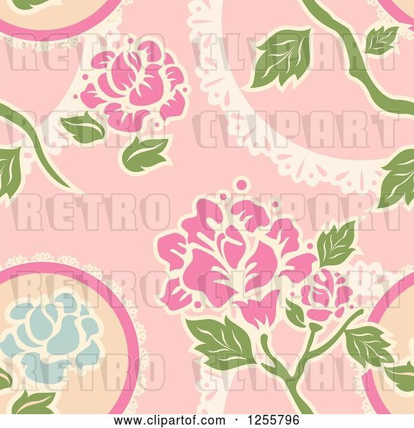Vector Clip Art of Retro Seamless Pink Rose Background Pattern