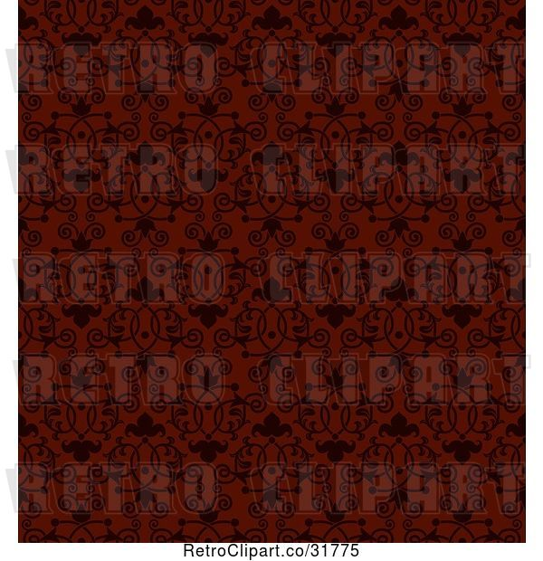 Vector Clip Art of Retro Seamless Red Background with Black Victorian Floral Designs