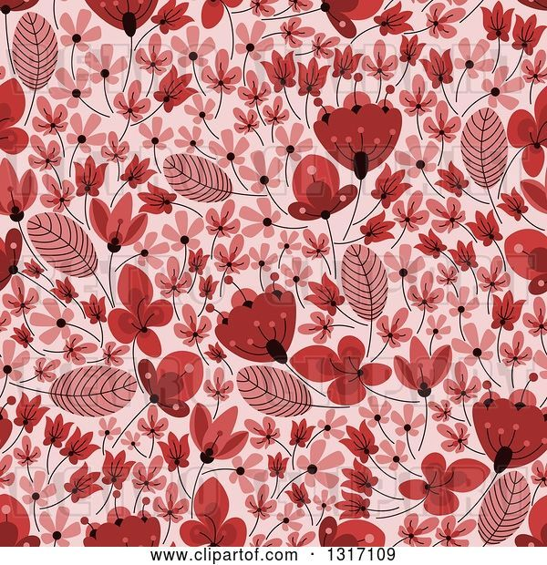 Vector Clip Art of Retro Seamless Red Floral Background Pattern