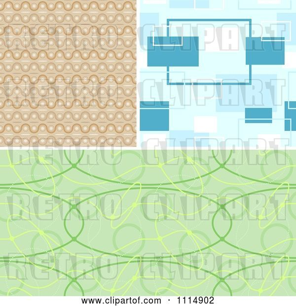 Vector Clip Art of Retro Seamless Tan Blue and Green Background Patterns
