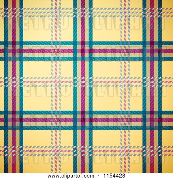 Vector Clip Art of Retro Seamless Yellow Green and Magenta Tartan Plaid Background