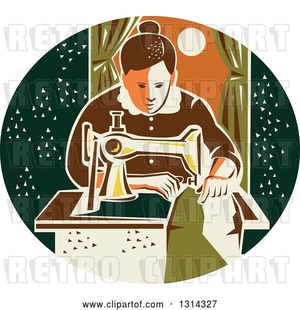 Vector Clip Art of Retro Seamstress Lady Sewing with a Machine by a Window in a Dark Green Oval