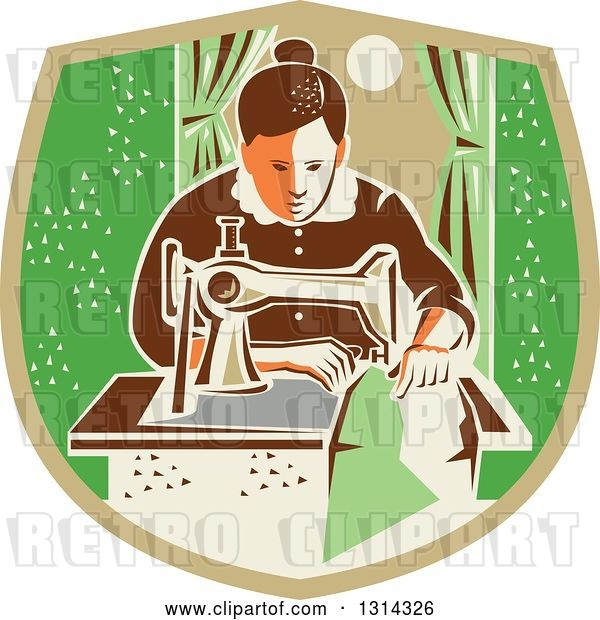Vector Clip Art of Retro Seamstress Lady Sewing with a Machine by a Window in a Tan and Green Shield
