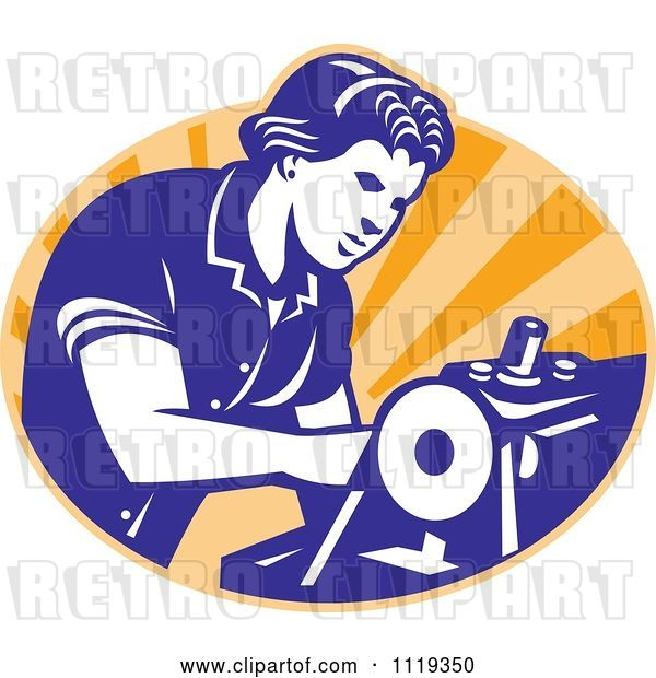 Vector Clip Art of Retro Seamstress Operating a Machine over Orange Rays