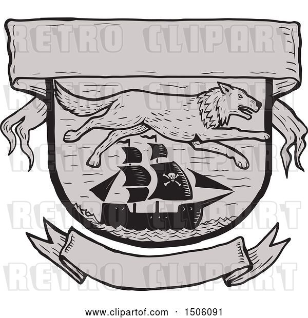 Vector Clip Art of Retro Seawolf over a Pirate Ship in a Shield with Banners