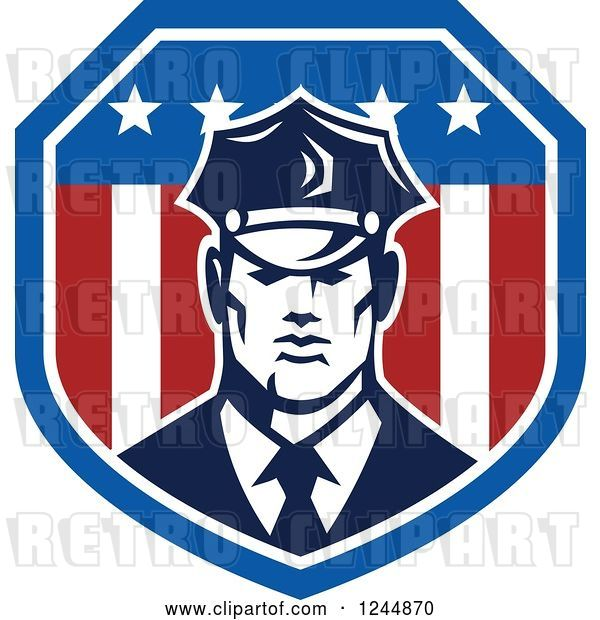 Vector Clip Art of Retro Security Guard in an American Flag Shield