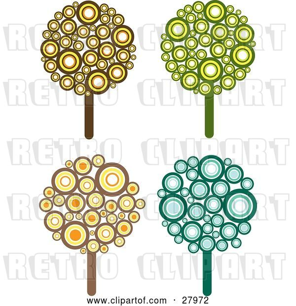 Vector Clip Art of Retro Set of Four Styled Trees Made of Brown, Yellow, Orange, Green and Blue Circles