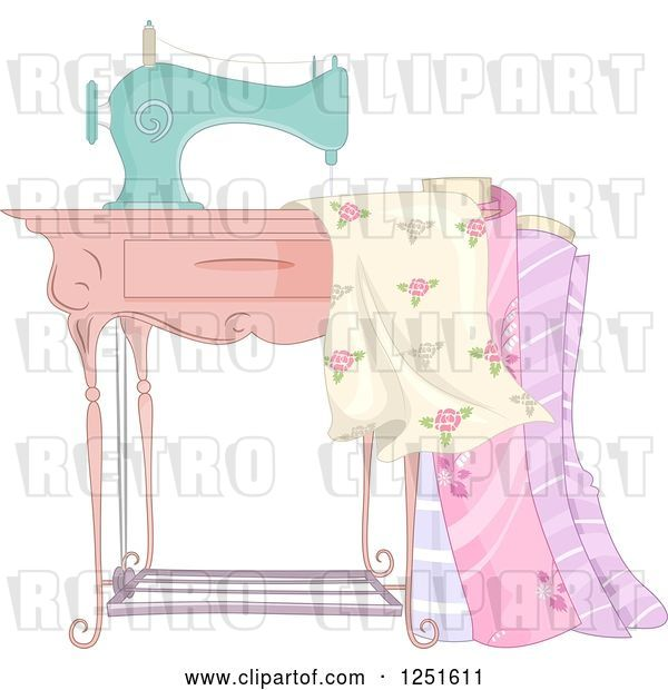 Vector Clip Art of Retro Sewing Machine with Fabric