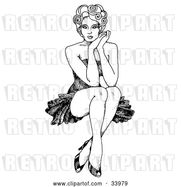 Vector Clip Art of Retro Sexy 1940's Inspired Pinup Girl with Curly Hair, Seated with Her Ankles Crossed, Resting Her Face Against Her Hands